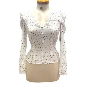 Free Press Clothing Boho Ruched Polka Dot Blouse
